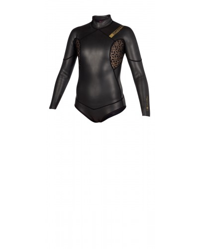 MYSTIC Womens Diva Black Series Longarm Super Shorty 3/2mm Back Zip Wetsuit - Black - 2018