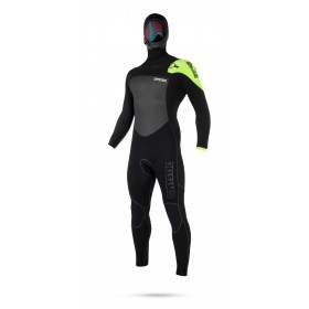 Mystic Legend Hooded 5/3mm Front Zip Wetsuit - Black/Lime - 2019
